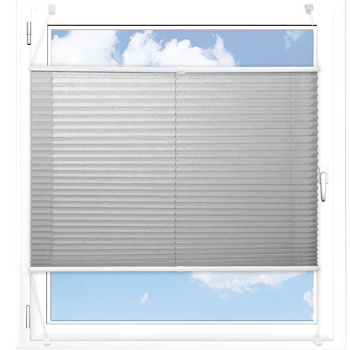 Plissee Rollo / Jalousie | Sichtschutz ohne Bohren | Faltstore in moderner Crushed Optik | Hellgrau | Größe wählbar (200 cm Länge x 110 cm Breite)