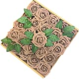 Jing-Rise 50PCS Fake Roses Real Looking Artificial Flowers for DIY Wedding Bouquets Centerpieces Baby Shower Party Home Office Shop Hotel Supermarket Decorations (Coffee)