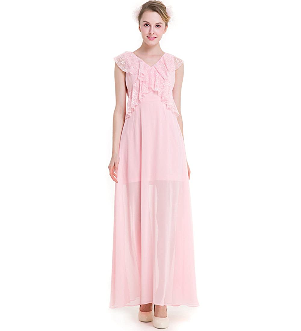 KAXIDY Ladies Pink Evening Dresses Gowns Wedding Holiday Beach Maxi Dresses: Amazon.co.uk: Clothing