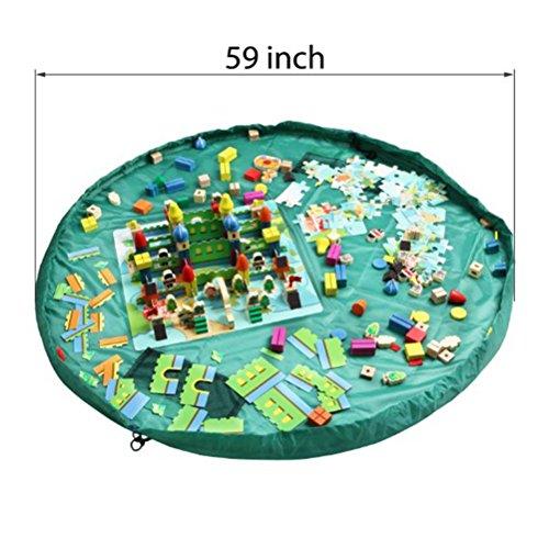Yiuswoy Nylon Kordelzug Aufbewahrungsbeutel ,Groesse Spielzeug-Speicher,Aufraeumsack Spielmatte,Spielzeugsack Und Spieldecke,Spielzeug Matte Fuer Kinder - Gruen