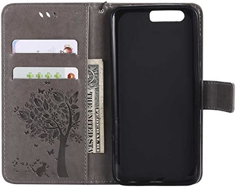 OMATENTI Huawei Honor 9 ケース 手帳型ケース ウォレット型 カード収納 ストラップ付き 高級感PUレザー 押し花木柄 落下防止 財布型 カバー Huawei Honor 9 用 Case Cover, ダークパープル