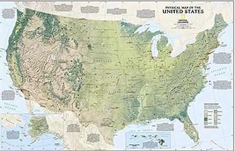 Amazoncom United States Physical Wall Map Us Map Office - Amazon map of us