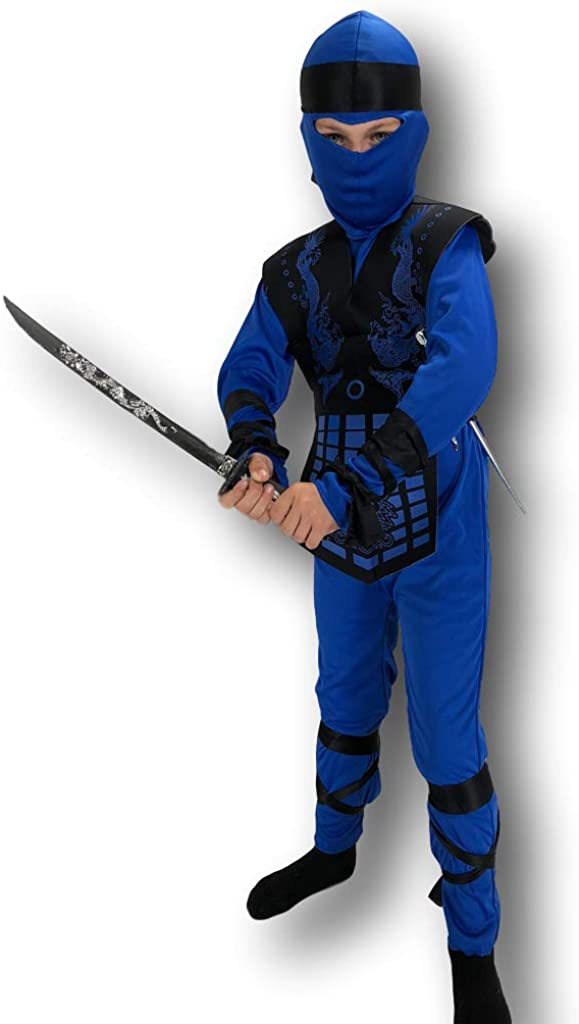 Rubber Johnnies Blue Neon Ninja Costume by, Kids, 3 Sizes