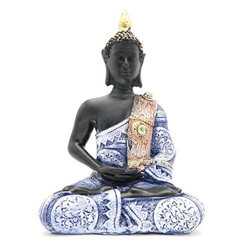 Rockin Buddha Statue Black Body Dress Blue Antiques 8 inches Tall Pattern Decoration Mantra Buddha Home Decoration Office Meditation Room Temple