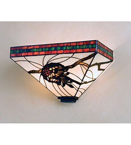 Tiffany Style Stained Glass Pinecone Wall Sconce