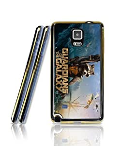 Cool Funda Case For Galaxy Note 4, Film - Guardians Of The Galaxy Logo Soft Gel Dust-proof Stylish 2 in 1 + Golden border Aesthetic & Vintage Personalized Style Extra Thin Compatible with Samsung Galaxy Note 4