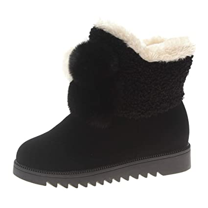 e628ad2bbba29 Amazon.com: Sunshinehomely Women Snow Boots Suede Solid Color Round ...