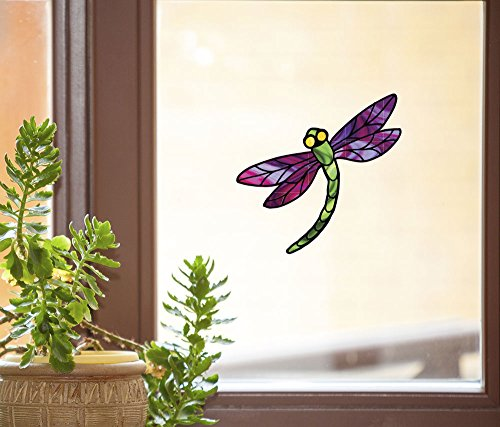 Dragonfly Stained Glass - D3 - See-Through Vinyl Window Decal Copyright YYDCo. (5.75