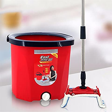 Floor Magic Spin Mop Bucket and Microfiber Rotating Dry Heads With 2 Dry wet cloth