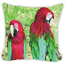 """Rikki Knight Red & Green Parrots Microfiber Throw Décor Pillow Cushion 16"""" Square DOUBLE SIDED PRINT (Insert Included)"""