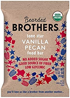 product image for Bearded Brothers Vegan Organic Food Bar | Gluten Free, Paleo and Whole 30 | Soy Free, Non GMO, Low Glycemic, No Sugar Added, Packed with Protein, Fiber + Whole Foods | Vanilla Pecan | 12 Pack