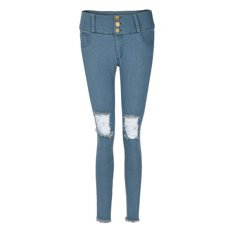 Kehen New Women Casual Destroyed Ripped Distressed Skinny Denim Jeans Juniors Girl Ripped Boyfriend Jeans