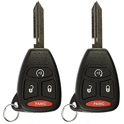 KeylessOption Keyless Entry Remote Start Control Car Key Fob Replacement for KOBDT04A (Pack of 2) (2010 Jeep Wrangler Key Fob)