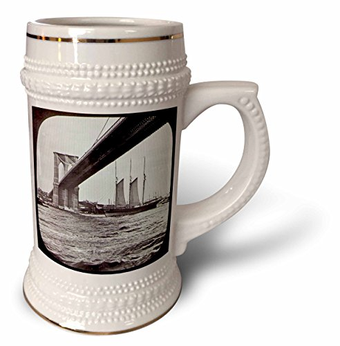 Scenes from the Past Vintage Glass Slides - Brooklyn Bridge with Sailboat East River New York City Glass Slide - 22oz Stein Mug (stn_77343_1)
