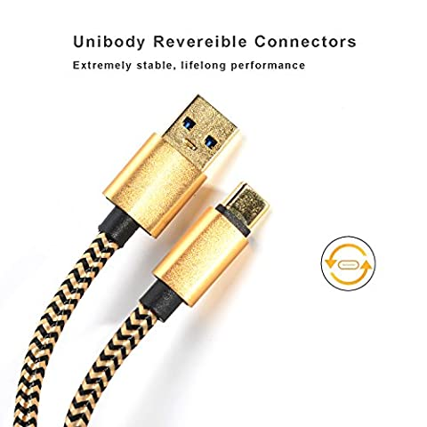USB Type C Cable Gold Plated Quick Charge 3.0 Durable Braided 6ft Extral Long Thick Cord (Htc Av Cable)