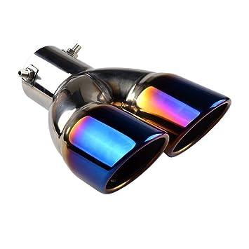 RunQiao - Embellecedor de doble boquilla para tubo de escape de acero inoxidable para coche universal de 60 mm: Amazon.es: Coche y moto