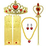 #2: Tacobear Princess Dress Up Accessories Gift Set For Belle Crown Scepter Necklace Earrings Gloves, Yellow, 5 Pieces