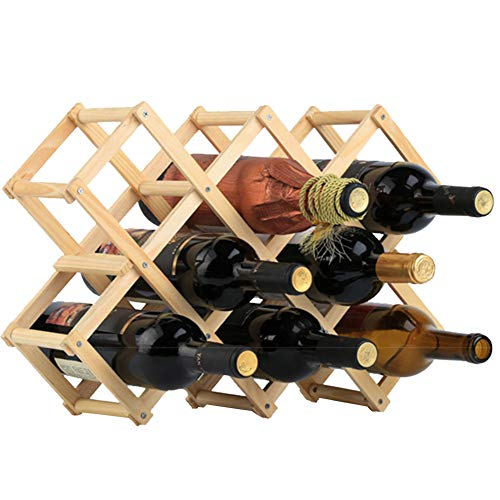 (Wood Wine Rack 10-Bottle Holder Foldable Free Standing Home Kitchen Cabinet Wooden Racks Stand Storage Rustic Countertop Decor Organizer-Natural Wood)