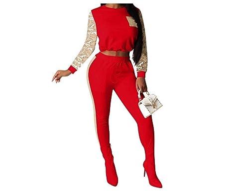 Doufine - Chándal para Mujer con Lentejuelas, 2 Piezas Rojo Rosso ...