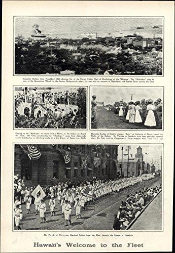 Hawaii Honolulu Paper (Hawaii Welcome Fleet Honolulu parade 1908 vintage newsprint old sheet paper)