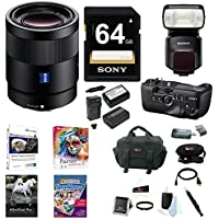Sony 55mm F1.8 Sonnar T FE ZA Lens, HVLF60M Flash, VGC99AM Vertical Grip Bundle
