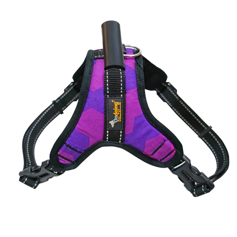 PURPLE M(38-48cm) PURPLE M(38-48cm) Dog Vest Harness, Leash golden Hair Chest Strap Rope Teddy Outdoor Car Traction Training Running Safety Traction Buffer Reflective Chain for Puppy Cat Supplies (color   Purple, Size   M(38-48cm))