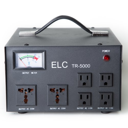 ELC 5000 Watt Voltage Transformer Converter with Builtin Regulator - Step Up/Down - 110V/220V - Circuit Breaker (220 Voltage Regulator)