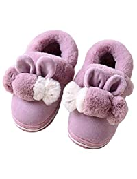 Boys Girls House Slippers Plush Warm Cute Candy Bunny Fuzzy House Shoes Toddler Kids