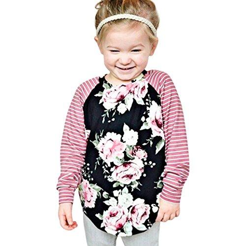 Longra Kleinkind Baby Kinder Mädchen Blumen Blumendruck Streifen Langarmshirt Tops Kleidung Outfits Kinder Sweatshirt Bluse Tops Black