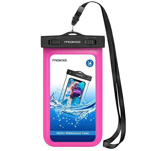 MoKo Waterproof Phone Pouch, Underwater Cellphone Case Dry Bag with Lanyard Armband Compatible with iPhone 11/11 Pro Max, X/Xs/Xr/Xs Max, 8/7/6 Plus, Samsung S10/S9/S8 Plus, S10e, A10E, Note 10