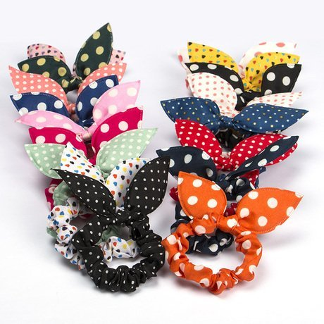 10pcs rabbit ears Hair bands Rubber band Hair Rope Headdress hair jewelry hair ring headwear hair circle hair tie female women girls hair accessories color randomly