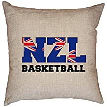 fan products of Hollywood Thread New Zealand Basketball - Olympic Games - Rio - Flag Decorative Linen Throw Cushion Pillow Case with Insert