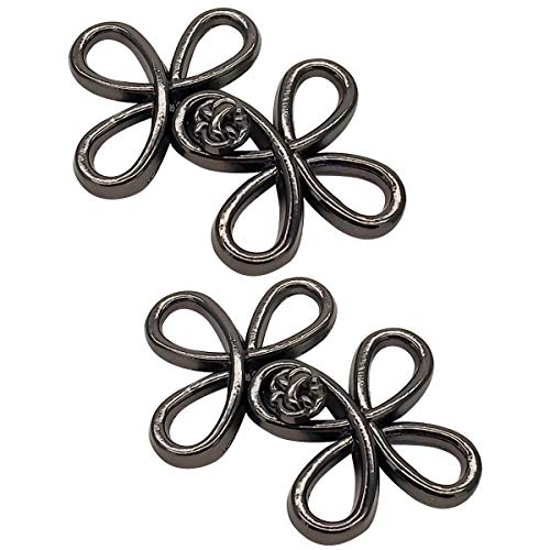 Monkey Rise 10 Pairs Four-Leaf Clover Cloak Clasp,Sew On Hooks and Eyes Cardigan Clip(Black)