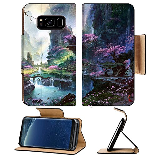 - MSD Premium Samsung Galaxy S8 Flip Pu Leather Wallet Case IMAGE of water nature rock landscape waterfall river stream stone green cascade park fall environment beautiful f