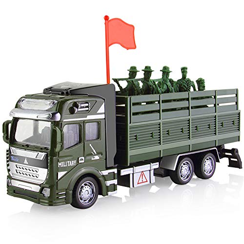 (CORPER TOYS Military Truck Army Cars Pull Back Toy Die-cast Metal Alloy Model Car Playset Soldier Transport Vehicle for Boys Kids - 8 Pieces)