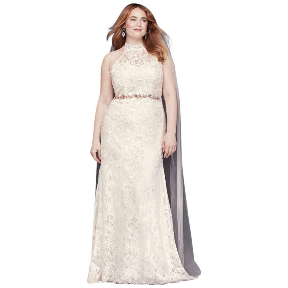 Lace High-Neck Halter Plus Size Wedding Dress Style ...