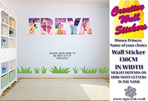 Disney Princess wall art sticker YOUR NAME wall sticker Childrens ...