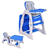 Costzon 3 in 1 Baby High Chair Desk Convertible Play Table Conversion Seat Booster (Blue)