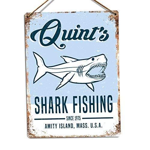 YING XUE Quints Shark Fishing Twine Metal Wall Sign Plaque Art Inspirational - 8x12 inch