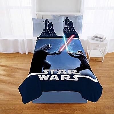 """Star Wars Classic Lightsaber Battle Full Size Plush Throw Blanket - 62"""" x 90"""""""
