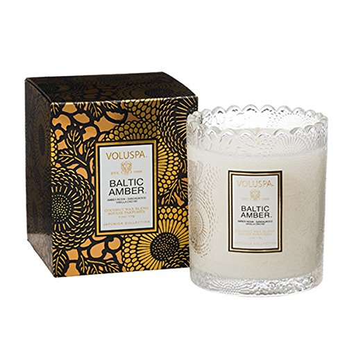 - Voluspa Scalloped Edge Glass Candle, Baltic Amber