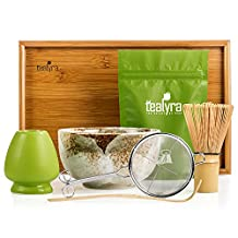 Tealyra - Matcha - Connoisseur Ceremony Start Up Kit - Complete Matcha Green Tea Gift-Set - Imperial Matcha Tea Powder - Japanese Made Beige Bowl - Bamboo Whisk Scoop and Tray - Holder - Sifter