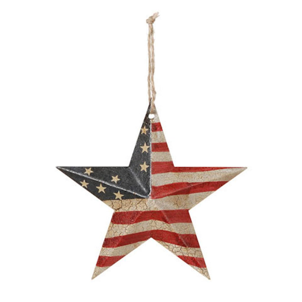 Americana Decor - USA Flag Crackled Barn Star - SM 5.75