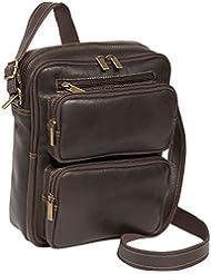 LeDonne DS-083-CHOC Distressed Multi Pocket iPad/E-Reader Mens Bag, Leather