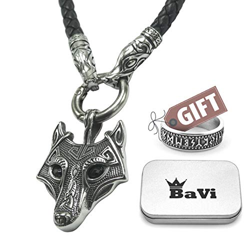 BaviPower Wolf Head Pendant with Braided Leather Necklace ♦ Stainless Steel ♦ Nordic Scandinavian Necklace ♦ Authentic Viking Jewelry (19.7)