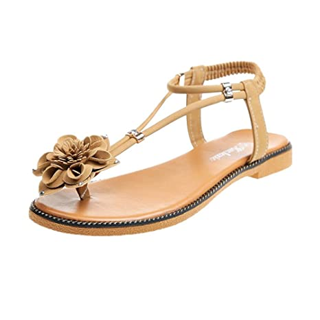 75e0d51e9fd Image Unavailable. Image not available for. Color  Women s Summer Thong  Flat Sandals Clip Toe T-Strap Bohemian Rhinestone ...