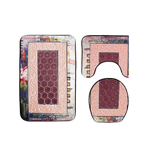 Solid 3Pcs Bath Carpet Bathroom Mat Shower Rugs Anti-Slip Mat for Toilet Shower Mats Bathroom Rug Set Toilet Floor Mat,Gray Imprint,3 Pieces]()