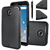 Nexus 6 Case, Nexus 6 Case, E LV Google Nexus 6 Case Cover - Dual Layer Armor Defender Protective Case Cover for Google Nexus 6 with 1 Stylus and 1 Screen Protector - BLACK