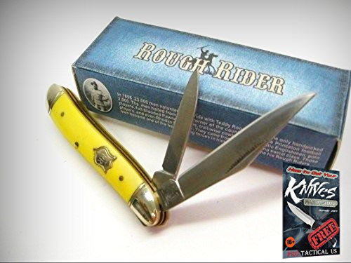 G10 Peanut - ROUGH RIDER Smooth Yellow Bone PEANUT 2 Blade Folding Pocket Knife New! 001605 + free eBook by ProTactical'US