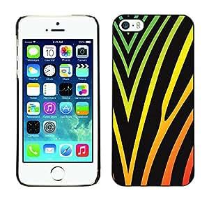 rígido protector delgado Shell Prima Delgada Casa Carcasa Funda Case Bandera Cover Armor para Apple Iphone 5 / 5S /Vibrant Colors Black Neon/ STRONG